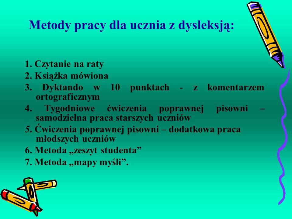 Metody pracy dla ucznia z dysleksją: