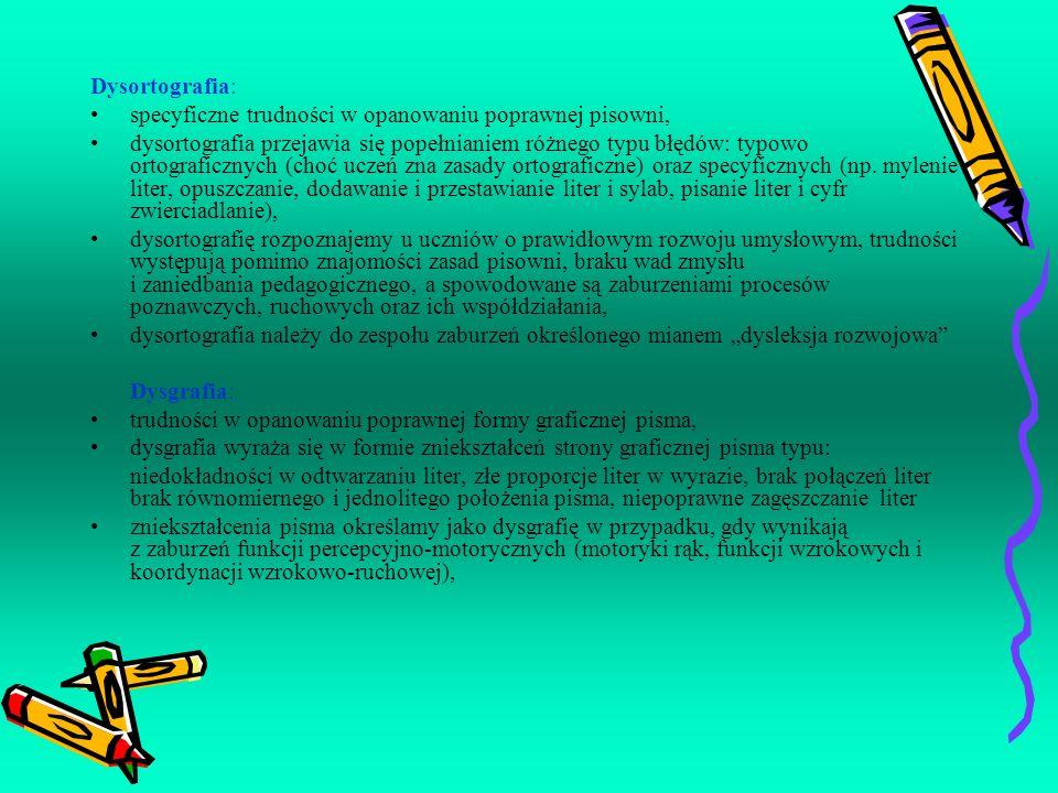 Dysortografia:specyficzne trudności w opanowaniu poprawnej pisowni,
