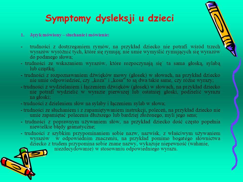 Symptomy dysleksji u dzieci