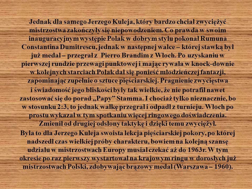 Jednak dla samego Jerzego Kuleja, który bardzo chciał zwyciężyć mistrzostwa zakończyły się niepowodzeniem.