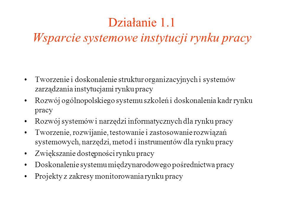 Działanie 1.1 Wsparcie systemowe instytucji rynku pracy