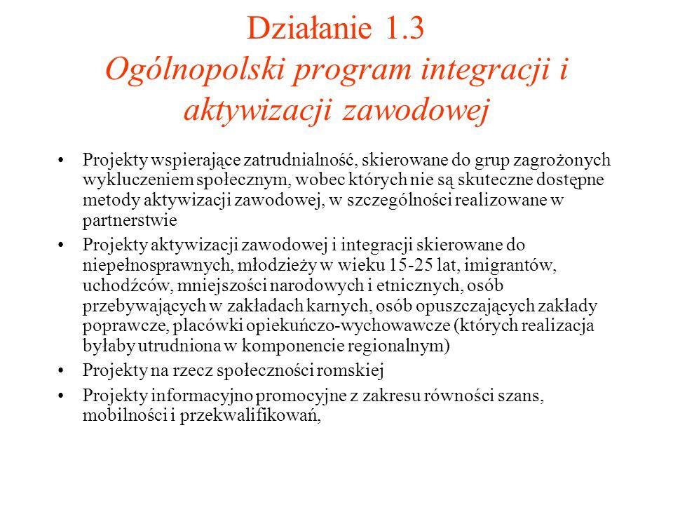 Działanie 1.3 Ogólnopolski program integracji i aktywizacji zawodowej