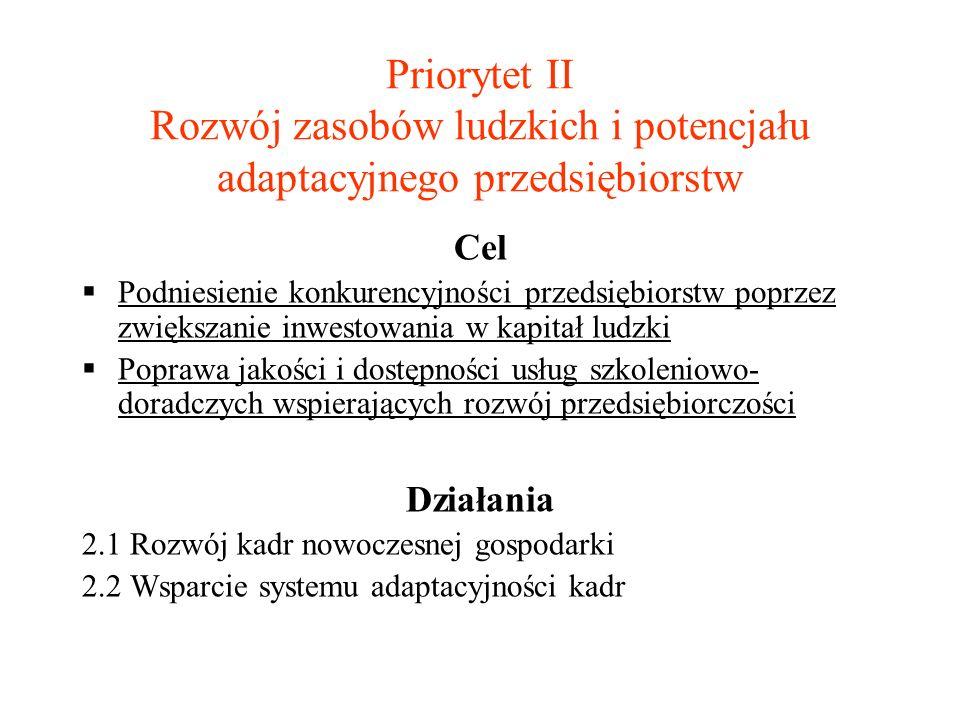Priorytet II Rozwój zasobów ludzkich i potencjału adaptacyjnego przedsiębiorstw