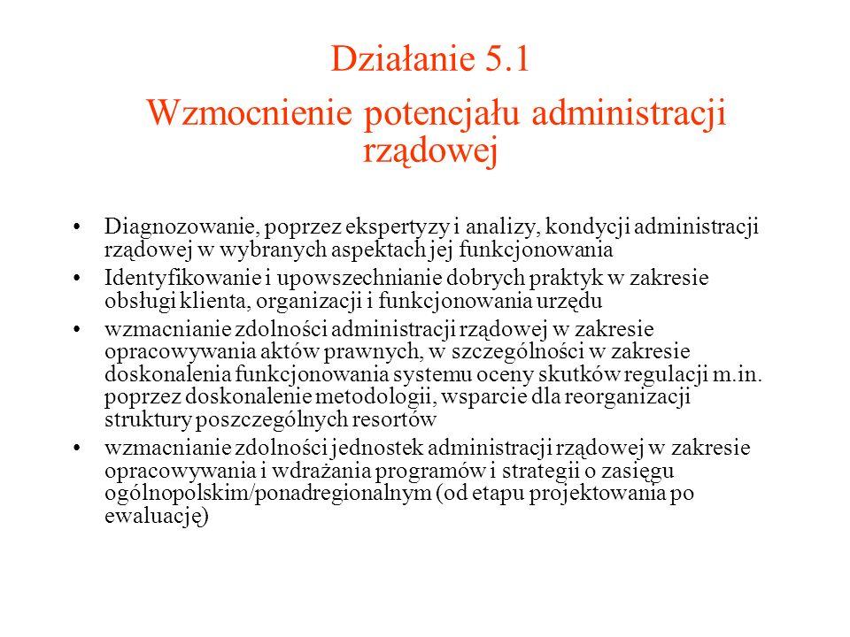 Działanie 5.1 Wzmocnienie potencjału administracji rządowej
