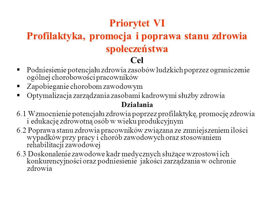 Priorytet VI Profilaktyka, promocja i poprawa stanu zdrowia społeczeństwa