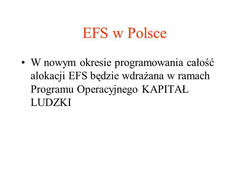EFS w Polsce W nowym okresie programowania całość alokacji EFS będzie wdrażana w ramach Programu Operacyjnego KAPITAŁ LUDZKI.