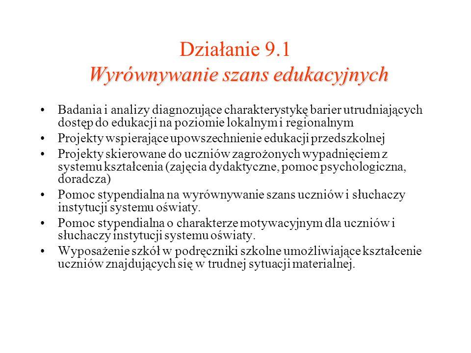 Działanie 9.1 Wyrównywanie szans edukacyjnych