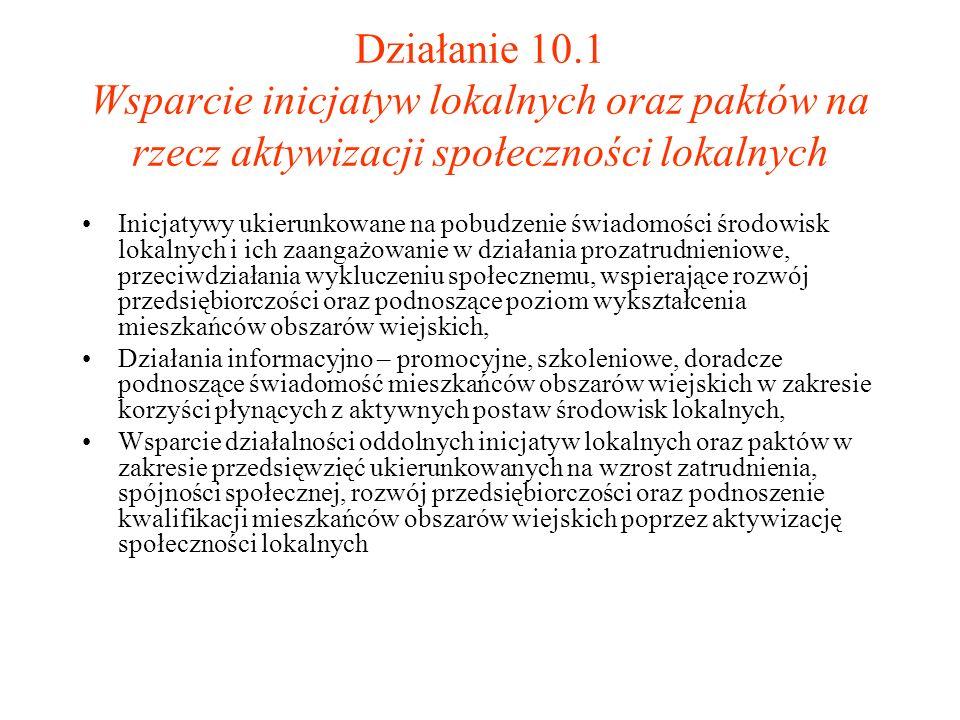 Działanie 10.1 Wsparcie inicjatyw lokalnych oraz paktów na rzecz aktywizacji społeczności lokalnych