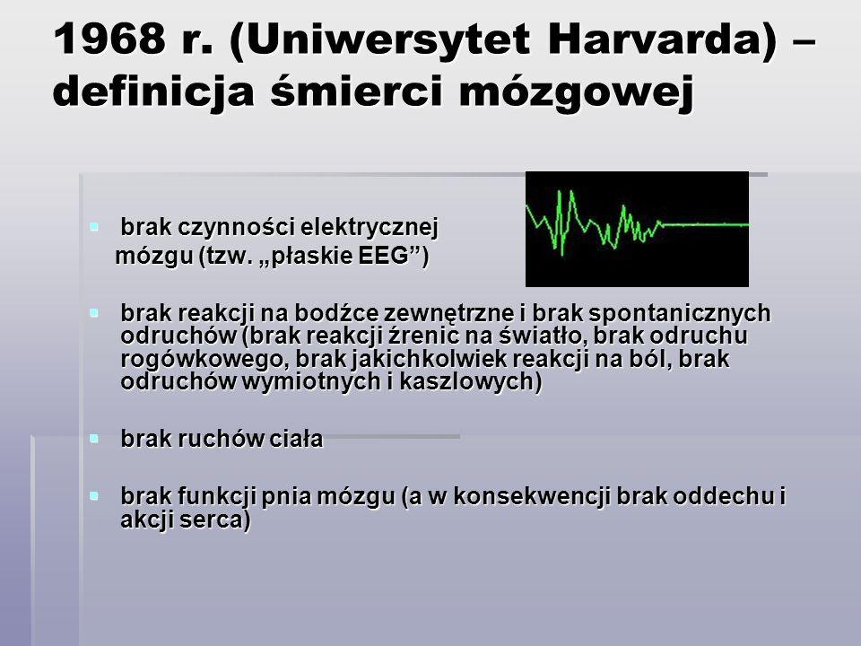 1968 r. (Uniwersytet Harvarda) – definicja śmierci mózgowej