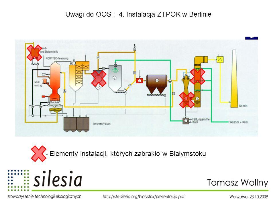 Uwagi do OOS : 4. Instalacja ZTPOK w Berlinie