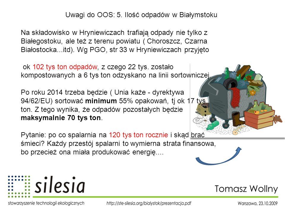 Uwagi do OOS: 5. Ilość odpadów w Białymstoku