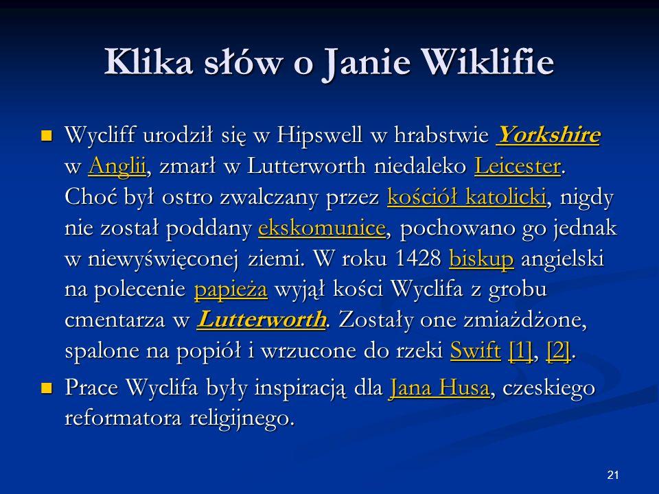 Klika słów o Janie Wiklifie