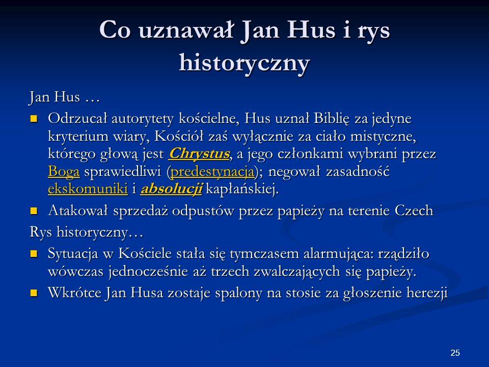 Co uznawał Jan Hus i rys historyczny