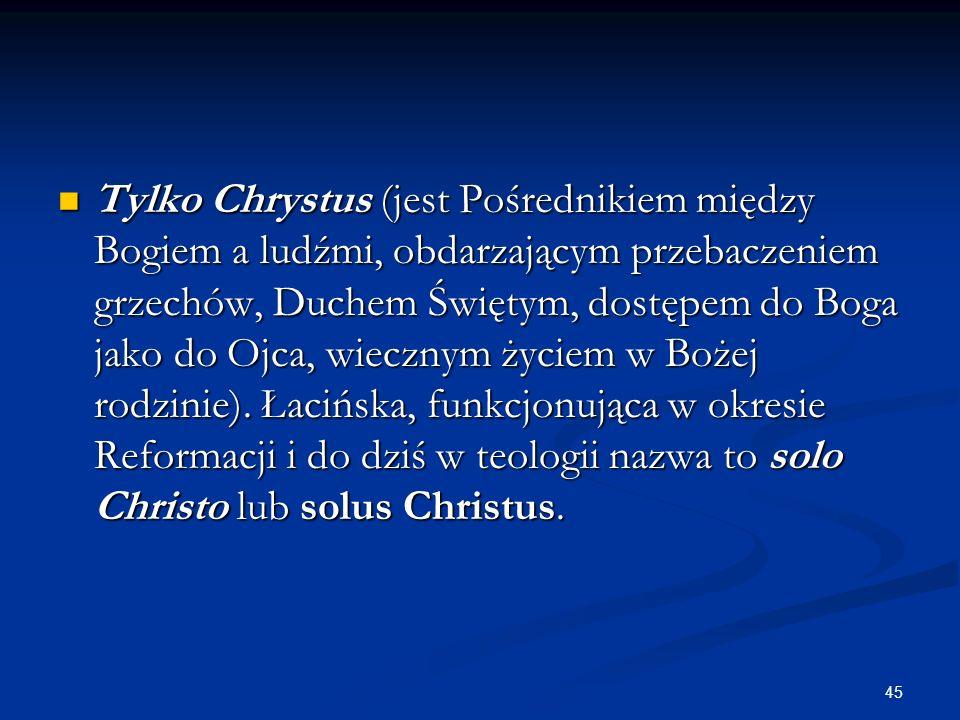 Tylko Chrystus (jest Pośrednikiem między Bogiem a ludźmi, obdarzającym przebaczeniem grzechów, Duchem Świętym, dostępem do Boga jako do Ojca, wiecznym życiem w Bożej rodzinie).