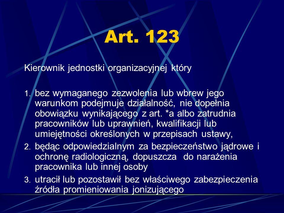 Art. 123 Kierownik jednostki organizacyjnej który