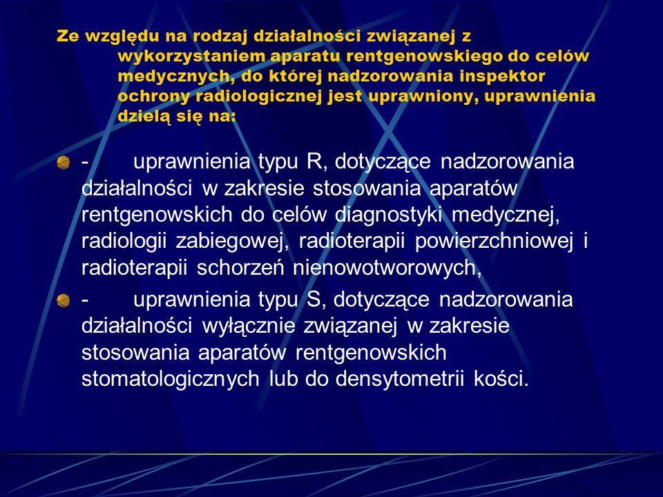 Ze względu na rodzaj działalności związanej z wykorzystaniem aparatu rentgenowskiego do celów medycznych, do której nadzorowania inspektor ochrony radiologicznej jest uprawniony, uprawnienia dzielą się na: