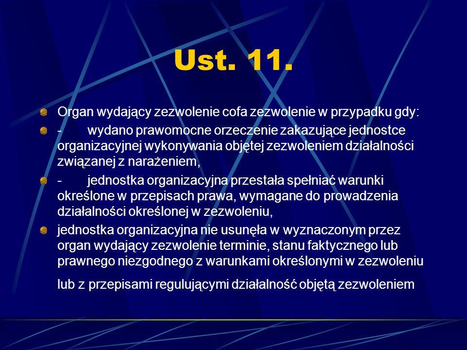 Ust. 11. Organ wydający zezwolenie cofa zezwolenie w przypadku gdy: