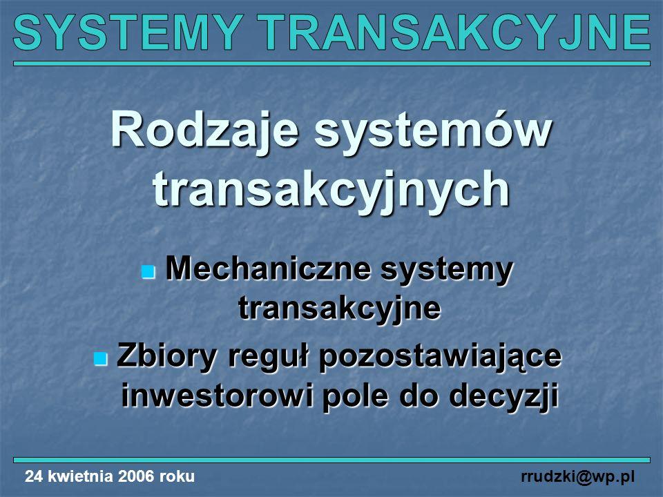 Rodzaje systemów transakcyjnych
