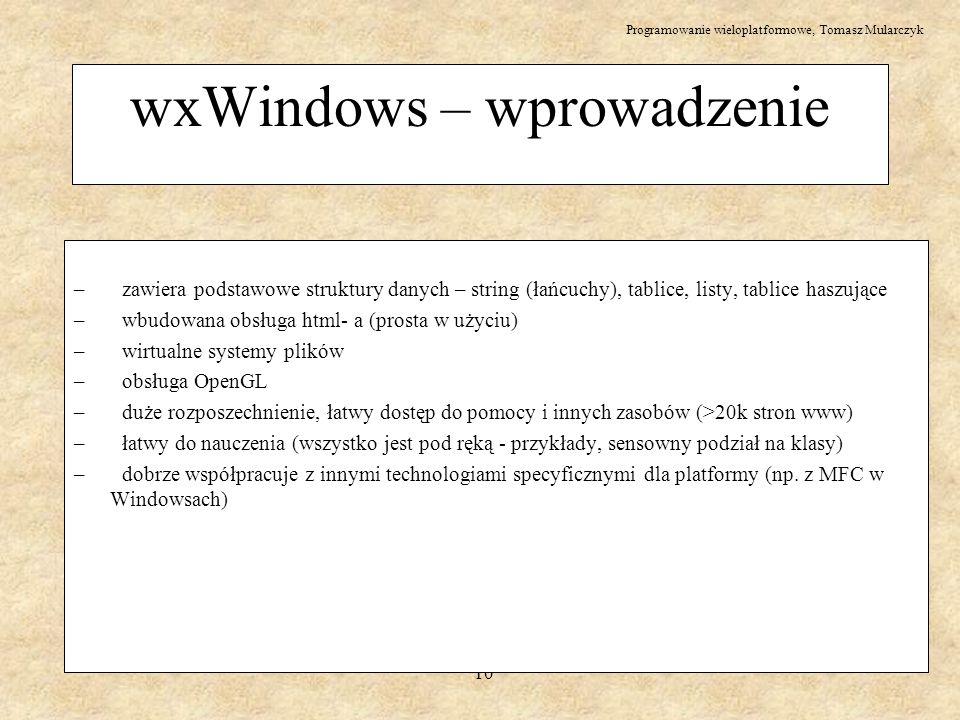 wxWindows – wprowadzenie