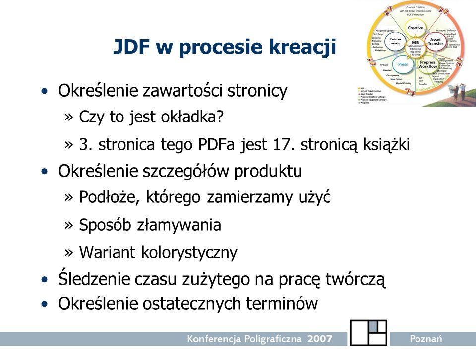 JDF w procesie kreacji Określenie zawartości stronicy