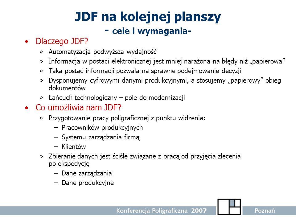 JDF na kolejnej planszy - cele i wymagania-