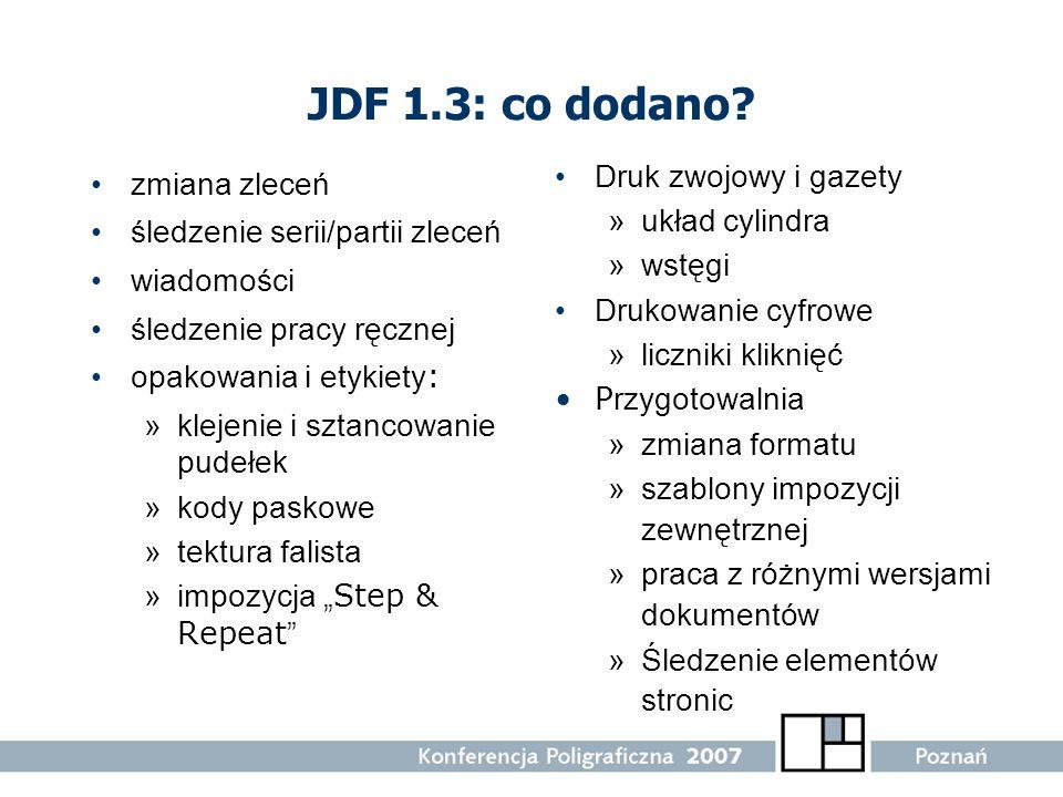 JDF 1.3: co dodano Druk zwojowy i gazety zmiana zleceń układ cylindra