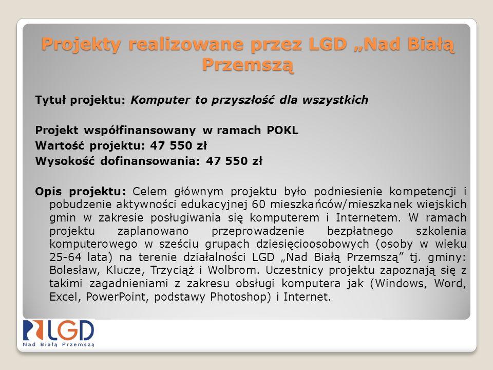 """Projekty realizowane przez LGD """"Nad Białą Przemszą"""