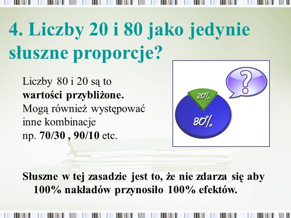 4. Liczby 20 i 80 jako jedynie słuszne proporcje