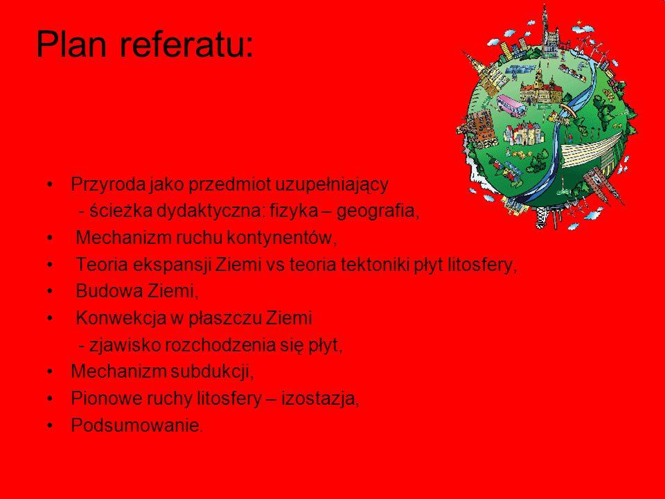 Plan referatu: Przyroda jako przedmiot uzupełniający