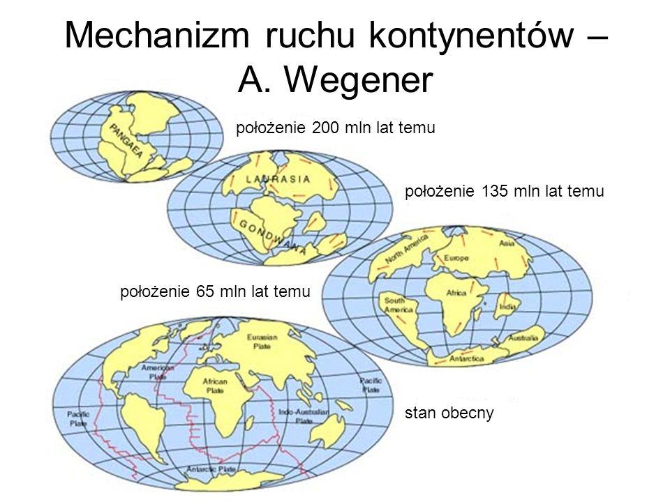 Mechanizm ruchu kontynentów – A. Wegener
