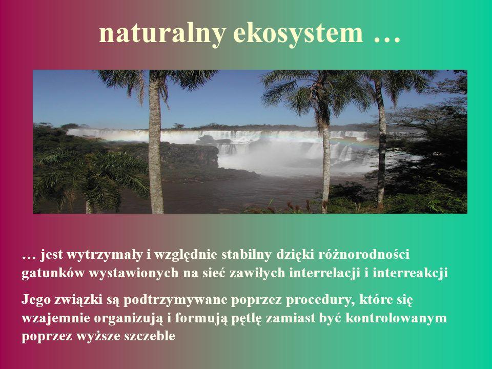naturalny ekosystem … … jest wytrzymały i względnie stabilny dzięki różnorodności gatunków wystawionych na sieć zawiłych interrelacji i interreakcji.