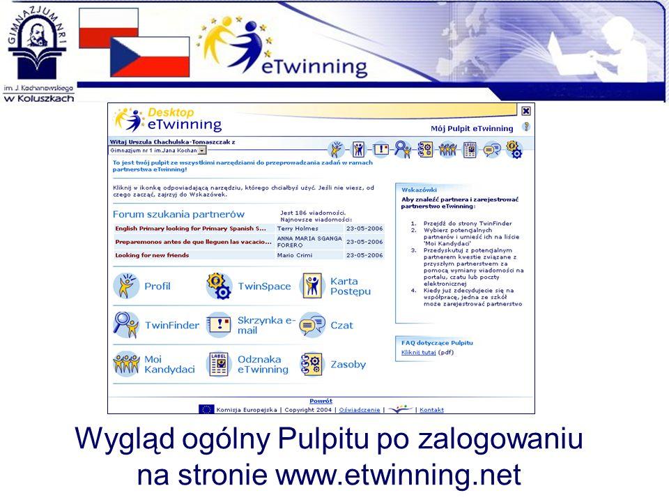 Wygląd ogólny Pulpitu po zalogowaniu na stronie www.etwinning.net
