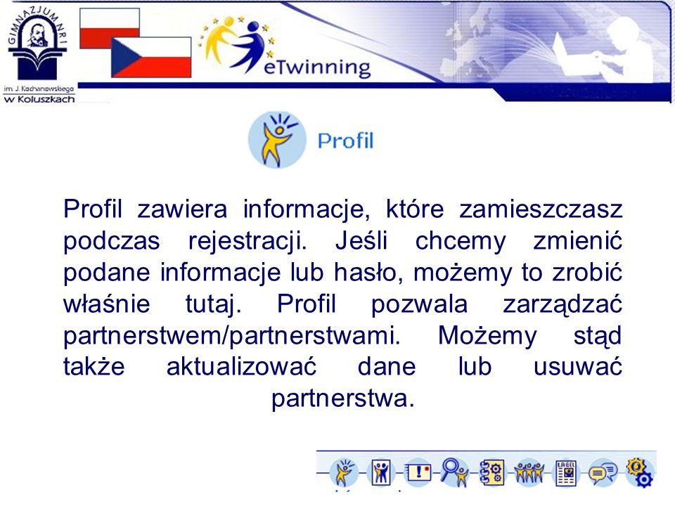 Profil zawiera informacje, które zamieszczasz podczas rejestracji