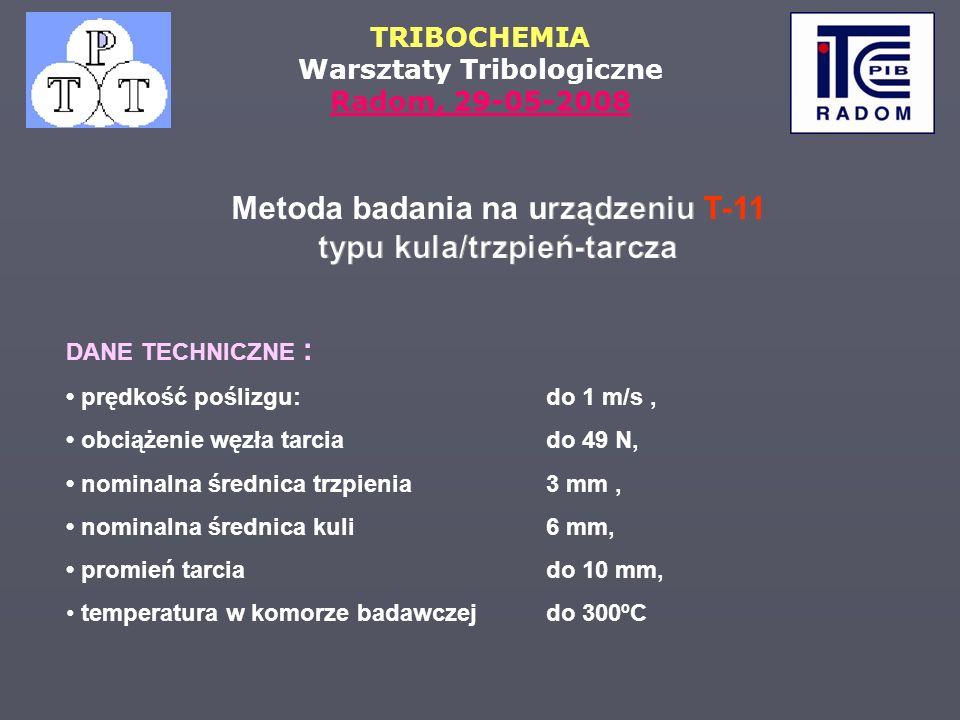 Metoda badania na urządzeniu T-11 typu kula/trzpień-tarcza
