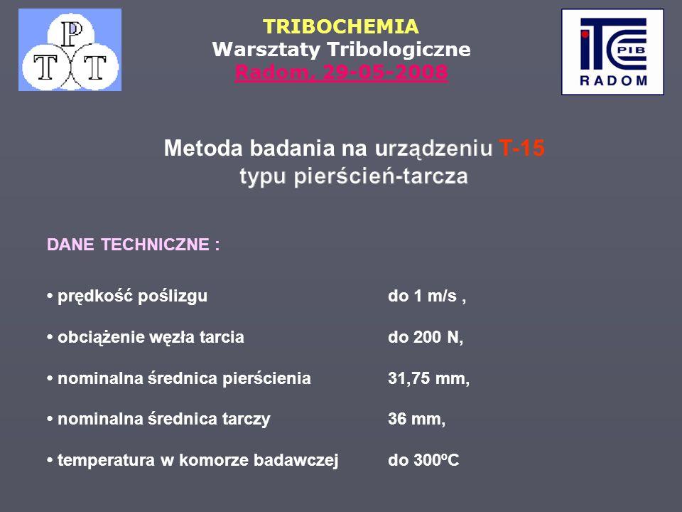 Metoda badania na urządzeniu T-15 typu pierścień-tarcza