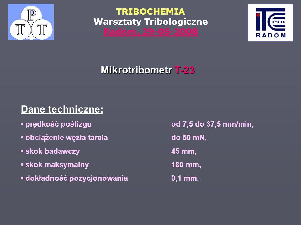 Mikrotribometr T-23 Dane techniczne: