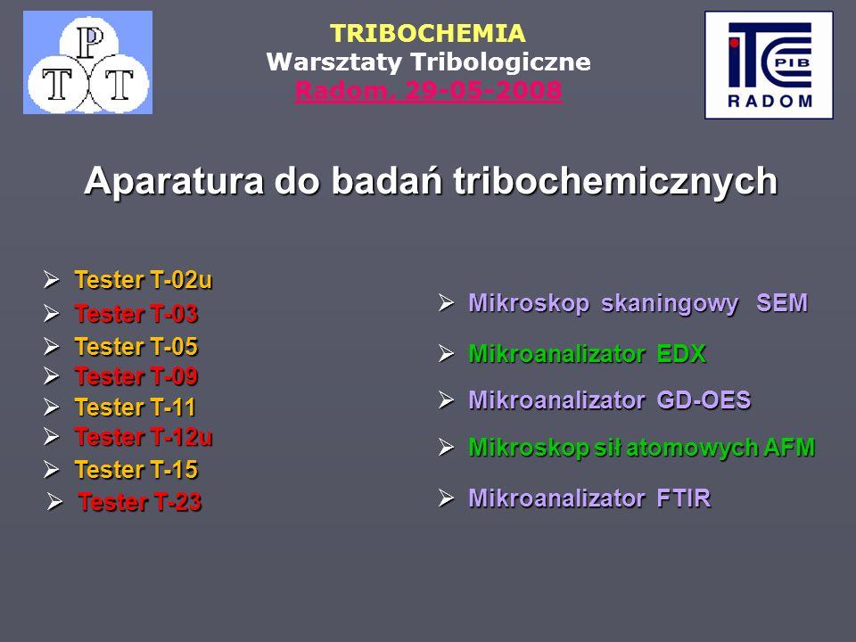 Aparatura do badań tribochemicznych