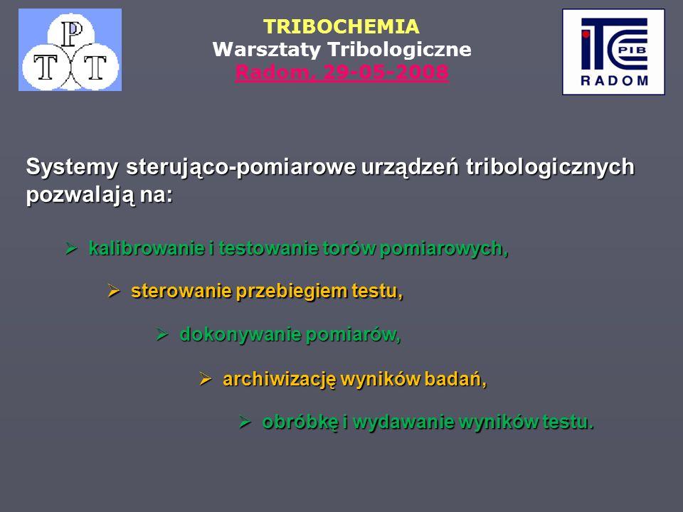 Systemy sterująco-pomiarowe urządzeń tribologicznych pozwalają na: