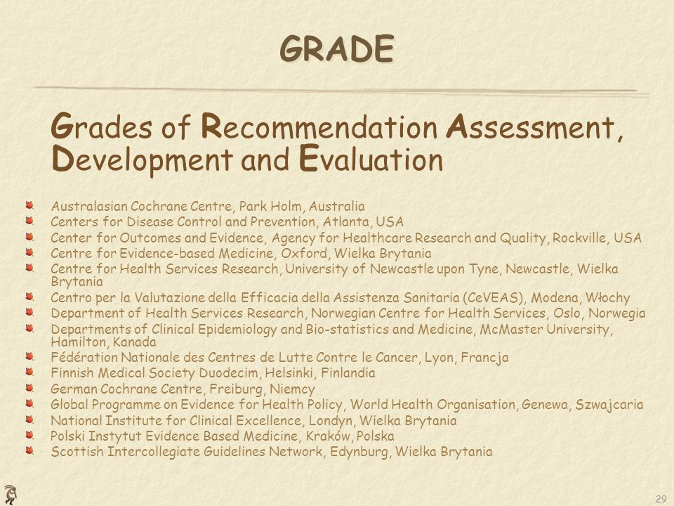 GRADE Grades of Recommendation Assessment, Development and Evaluation