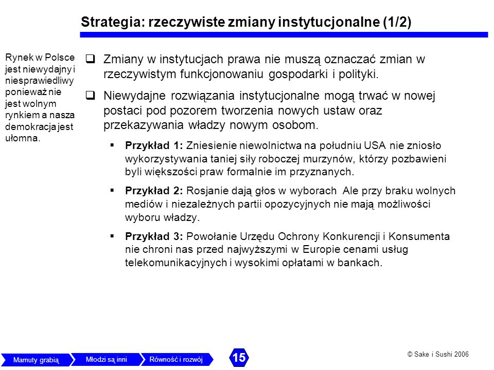 Strategia: rzeczywiste zmiany instytucjonalne (1/2)