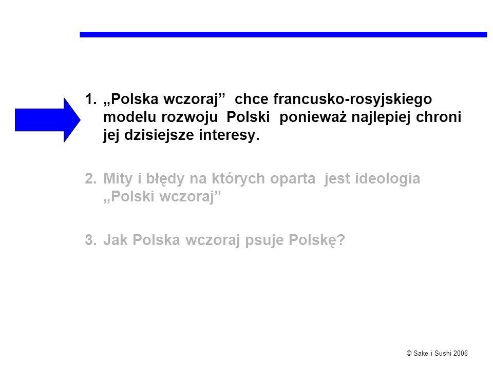 """""""Polska wczoraj chce francusko-rosyjskiego modelu rozwoju Polski ponieważ najlepiej chroni jej dzisiejsze interesy."""