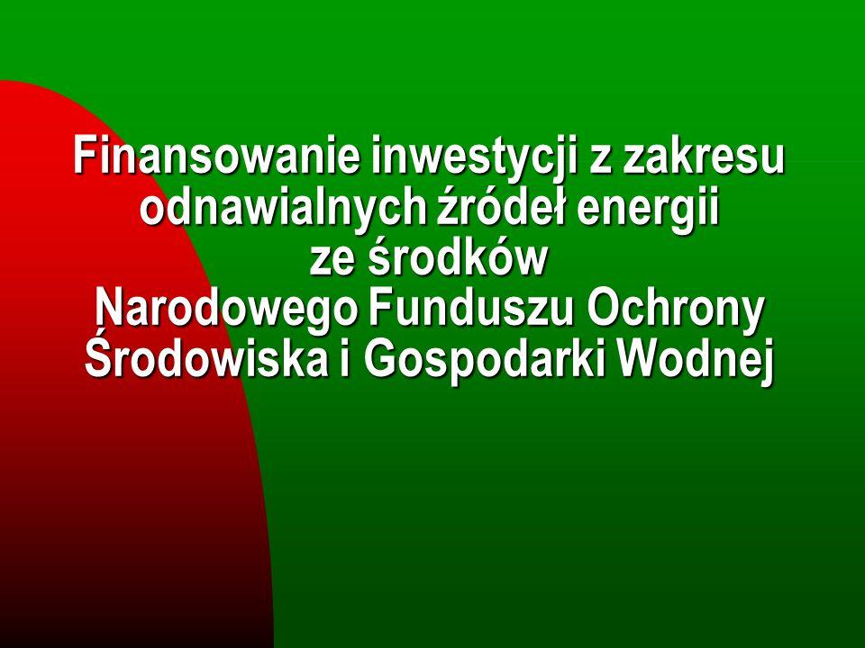 Finansowanie inwestycji z zakresu odnawialnych źródeł energii ze środków Narodowego Funduszu Ochrony Środowiska i Gospodarki Wodnej