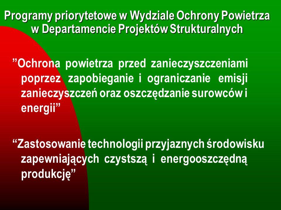 Programy priorytetowe w Wydziale Ochrony Powietrza w Departamencie Projektów Strukturalnych
