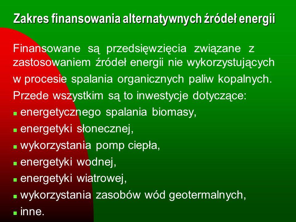 Zakres finansowania alternatywnych źródeł energii