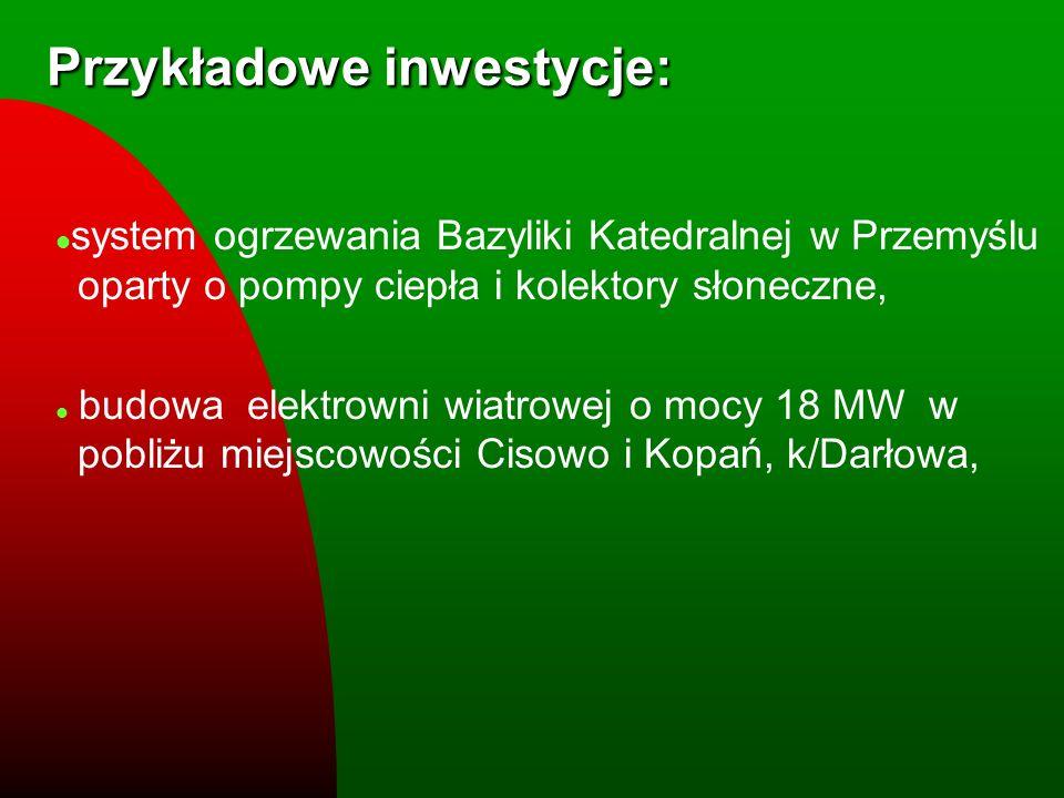 Przykładowe inwestycje: