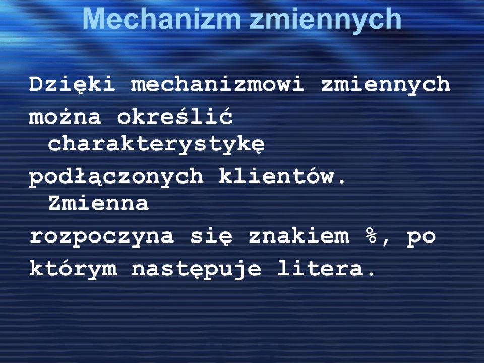 Mechanizm zmiennych Dzięki mechanizmowi zmiennych