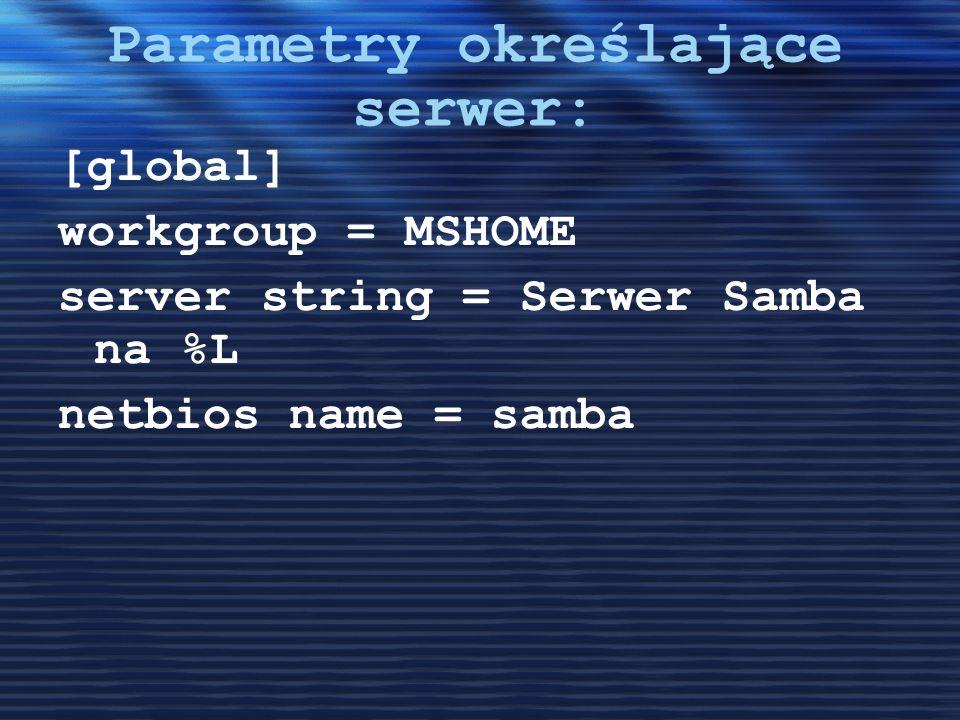 Parametry określające serwer: