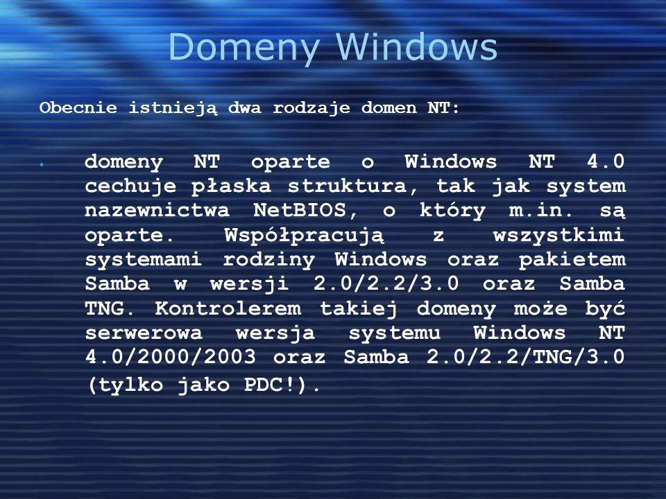 Domeny WindowsObecnie istnieją dwa rodzaje domen NT: