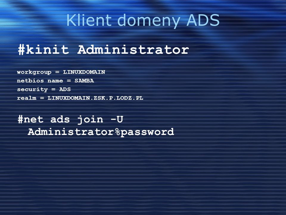 Klient domeny ADS #kinit Administrator