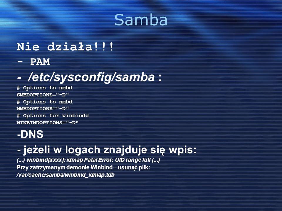 Samba Nie działa!!! - /etc/sysconfig/samba : - PAM -DNS